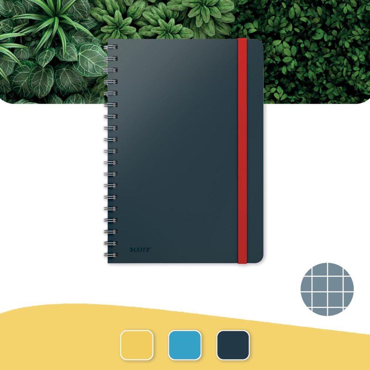 Leitz Cosy Notitieboek B5 Soft Touch Geruit - Notitieboek Hard Cover - Spiraalgebonden - Voor Kantoor En Thuiswerken - Fluweel Grijs - Ideaal Voor Thuiskantoor