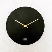 Ronde wandklok   Minimalistisch design   Zwart   Diameter 30cm   Gouden wijzers