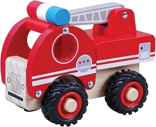 Houten brandweerauto 13 cm brandweerwagen