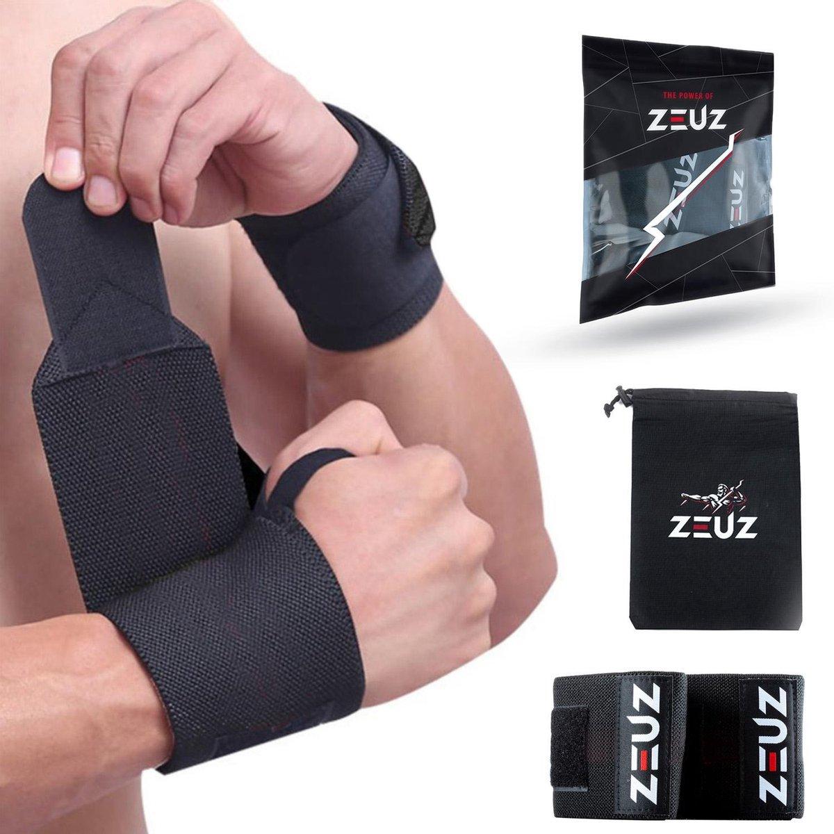 ZEUZ  2x Fitness & CrossFit Polsband - Wrist wraps   Krachttraining   Polsbrace   Zwart