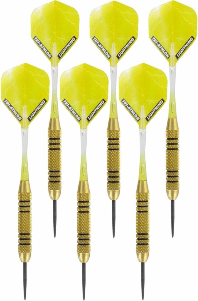 2x Set van 3 dartpijlen Speedy Yellow Brass 23 grams - Darten/darts sport artikelen pijltjes messing