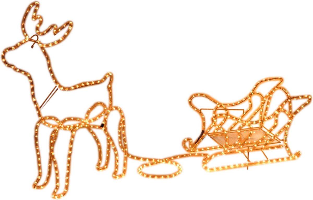 MaxxHome Kerstverlichting - Rendier met Slee - Warm Wit lichtslang - 504 lampjes - 208x28cm