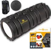Rising Phoenix Grid Foam Roller incl Massage Bal, Tas en E-Book - Massage Roller en Triggerpoint Bal - Foamroller 33x14cm - zwart