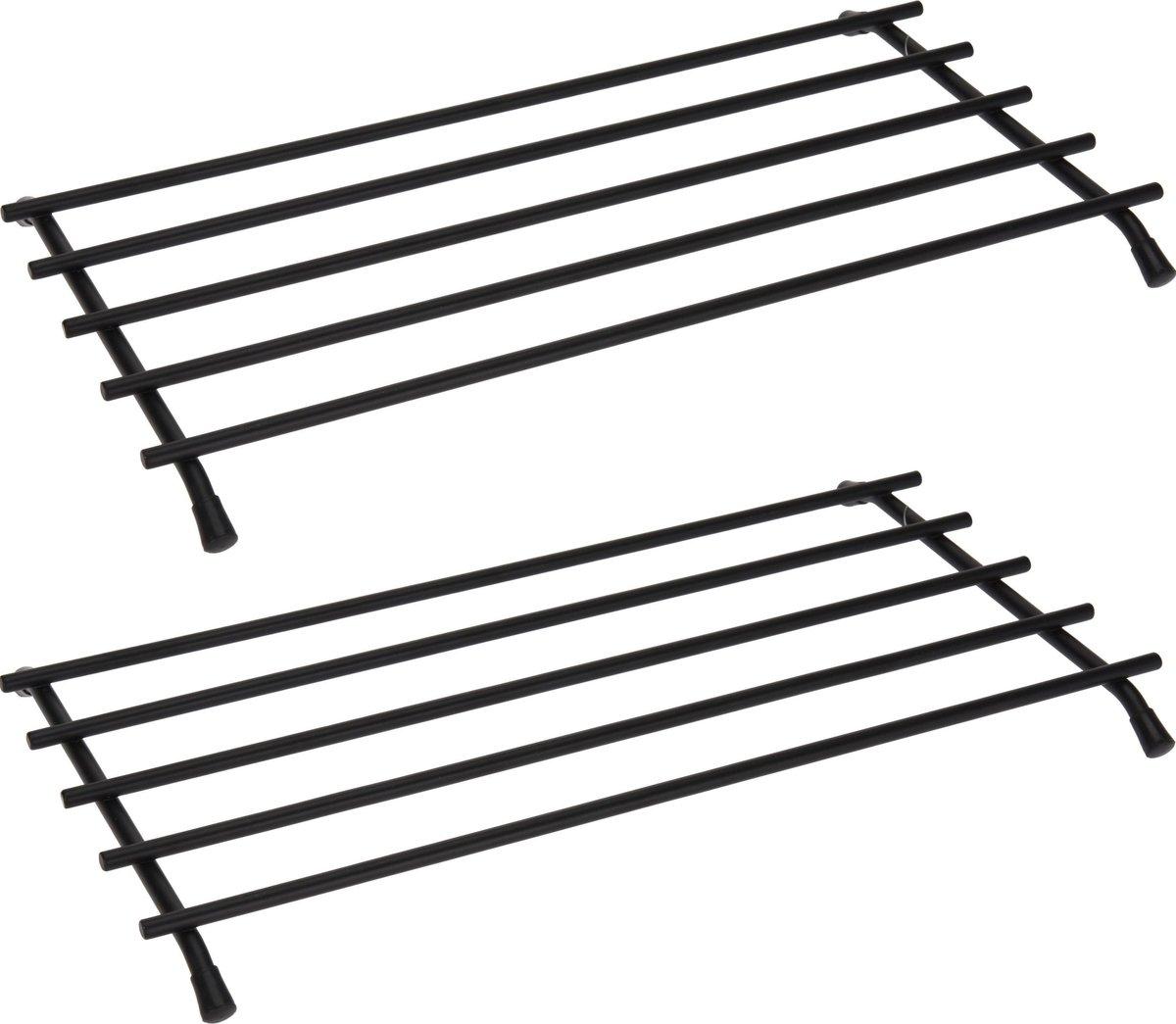 2x Metalen zwarte pannen/ovenschalen onderzetters 35 x 20 cm - Keukenbenodigdheden - Kookbenodigdhed