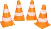 4x Sport/voetbal training pionnen oranje/wit 26 cm - Sport - Veldsporten - Training pion/kegel/accessoires