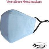 Mondkapje Wasbaar - Verstelbare Mondkapjes - Katoenen Mondmasker - Mouth Mask - Custom Design - Stoffen Mond masker - Herbruikbaar Mond Kapje - Licht Blauw - Qwality