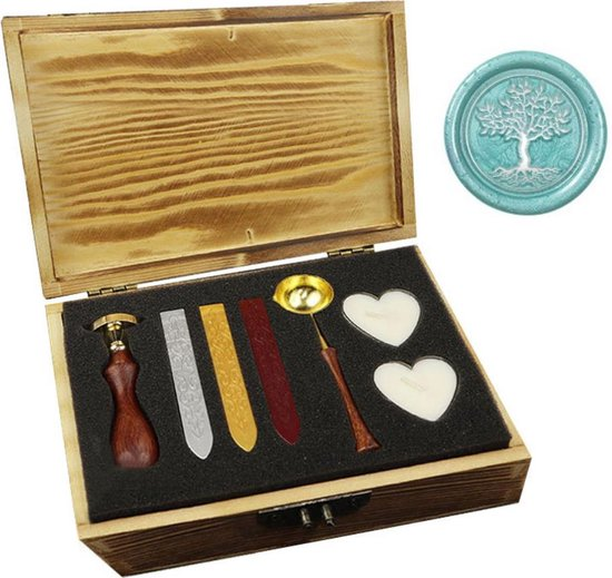 Afbeelding van Wax stempel zegel set sealing wax zegellak kaarten maken - met luxe verpakking van hout - boom speelgoed