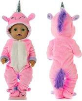 Poppenkleding meisje - Geschikt voor oa Baby Born - Roze - Unicorn - Huispak - Poppenkleertjes 43 cm - Kerst - Onesie - GRATIS Unicorn armband