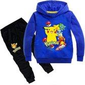 Pokémon trainingspak hoodie - maat 128 - Pikachu - trui en broek - pyjama - kinderen - kleding