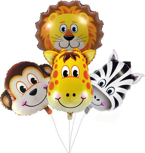 Safari versiering – 4 Stuks – Folieballonen – Jungle decoratie