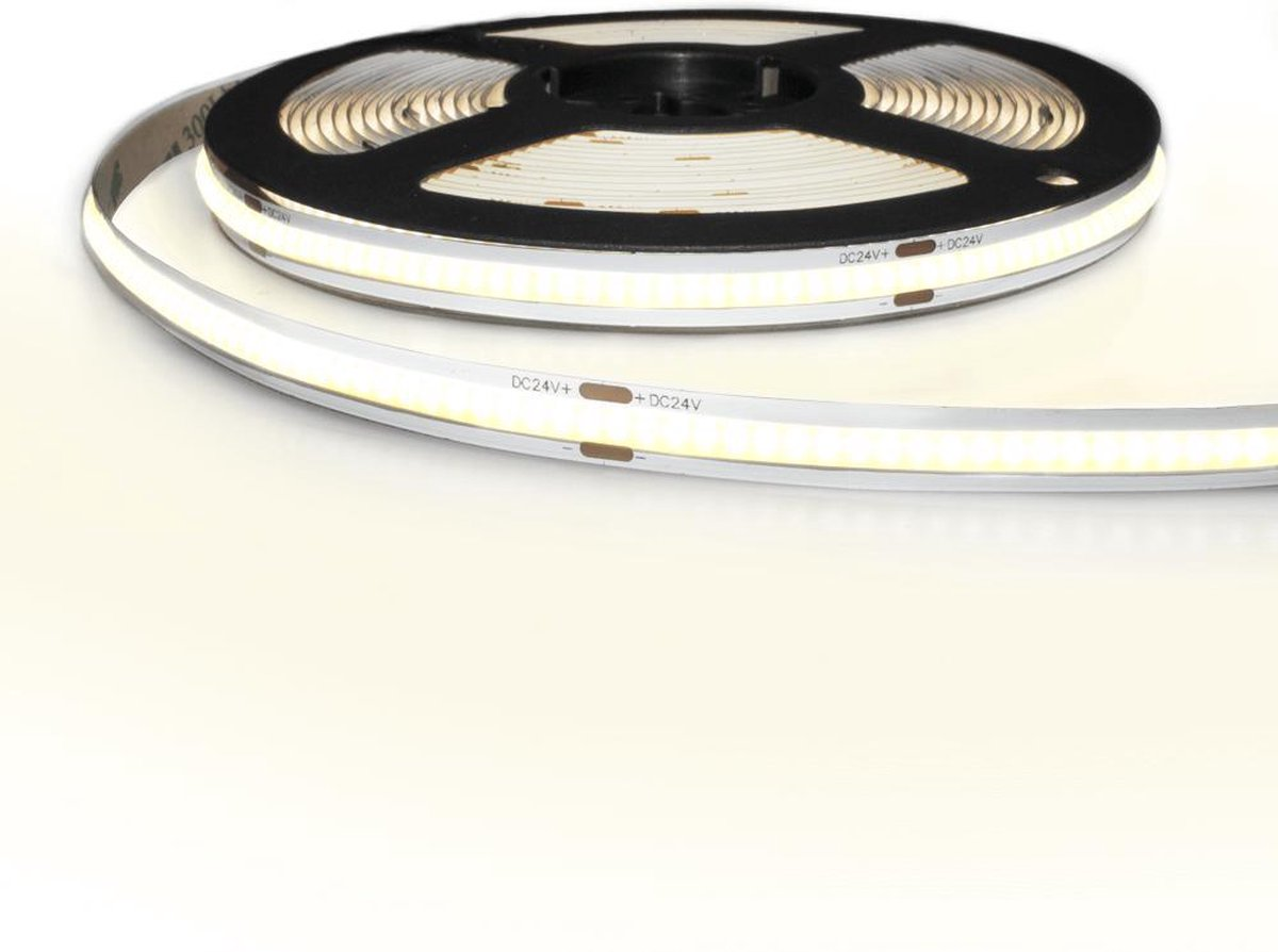 5 meter Helder Wit led strip COB met 384 leds per meter - complete set