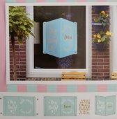Geboortebord - Raambord - Geboorte - Jongen - Boy - Blauw - Raamdecoratie - Baby Geboren - 20 x 28 cm - Inclusief Letter Stickers en Zuignappen