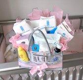 Luxe XL kraampakket: 106 delig roze:  bevalling - zwanger - zwangerschap - kraamcadeau - geboortecadeau - kraammand - thuisbevalling