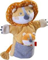 Haba Handpop Leeuw Met Baby Junior 30 X 22 Cm Polyester Oranje
