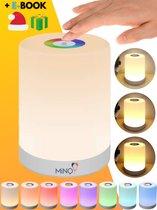 Nachtlampje Kinderen Tafellamp Nachtlampje Kinderkamer Leeslamp - Oplaadbaar - Dimbaar - Draadloos - Touch control - Smartlamp - Gratis E book - MINQY®