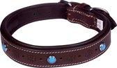 Dielay - Luxe Halsband voor Honden - Steentjes en Bloemen - Echt Leer / Leder - Maat M - 53x2,5 cm - Bruin