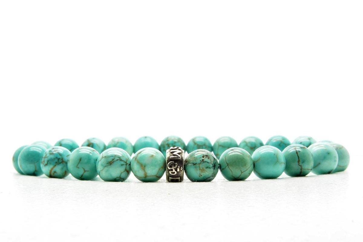 Beaddhism - Armband - Turquoise - Zilver - Beaddhism - 8 mm - 17 cm