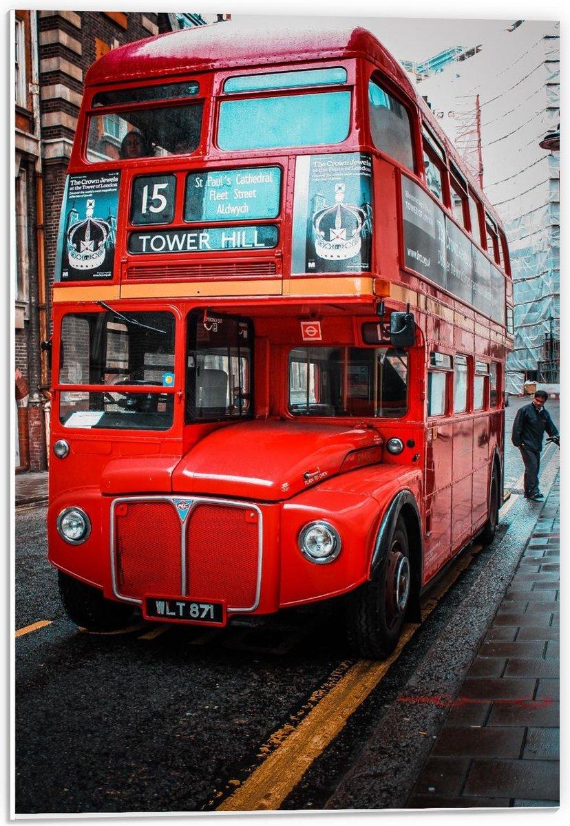 Forex - Rode Tower Hill Bus - 40x60cm Foto op Forex