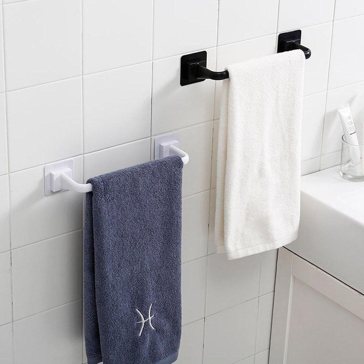Handdoekrek Badkamer - Handdoekrek Keuken - Zelfklevend - Handdoekrek zwart - Sterk & Waterproof - Handdoekhouder - 40.5CM