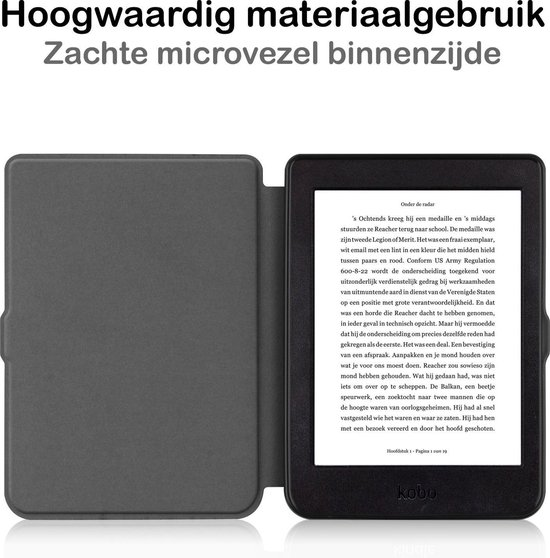 Kobo Nia Hoesje Bescherm Hoes Sleep Cover Luxe Case - Zwart