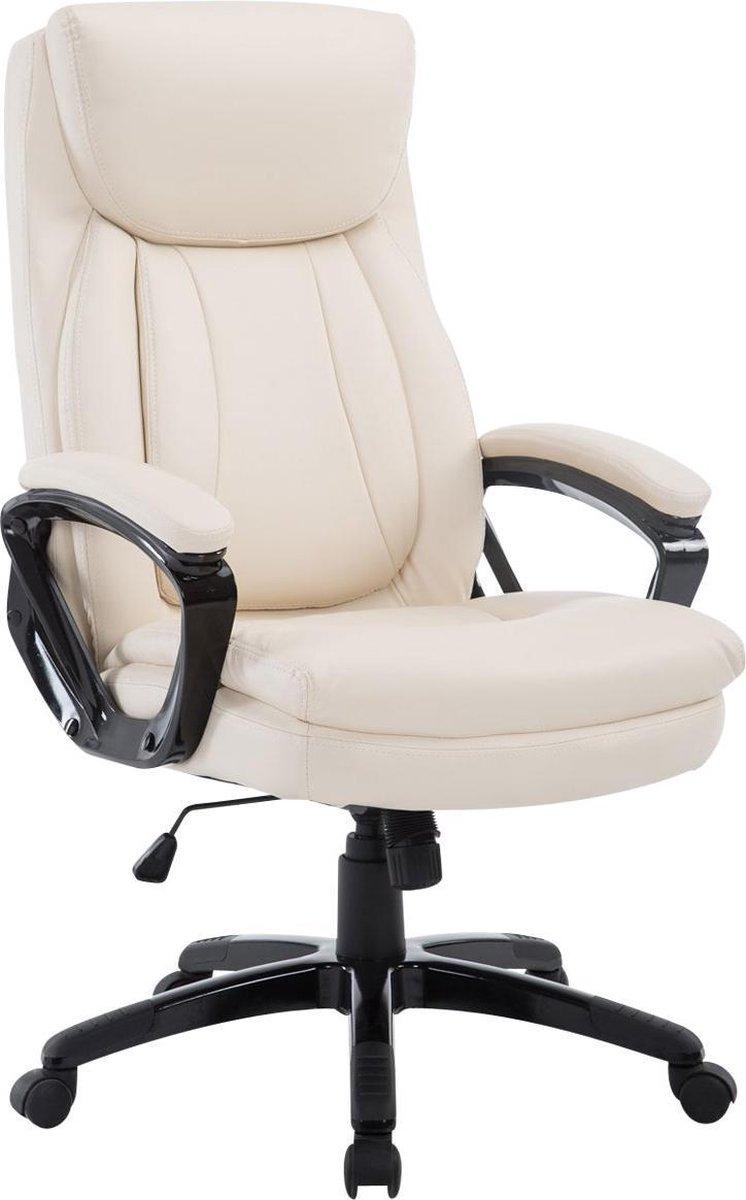 Bureaustoel - Bureaustoel voor volwassenen - XL - Hoofdkussen - Kunstleer - Crème - 65x74x120 cm