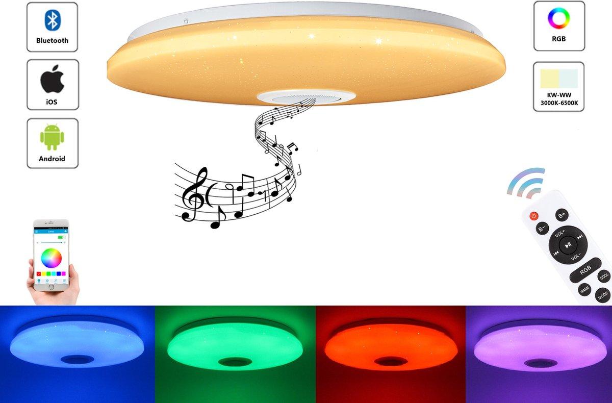 Varin® LED Plafondlamp met bluetooth speaker - 48W led lamp - Ø 38cm sparkling plafoniere - 3700 Lumen - RGB - nachtlamp en wekker - smart lamp - dimbare plafonnière - plafond lamp kinderkamer - slaapkamer verlichting - ledlamp - ceiling light