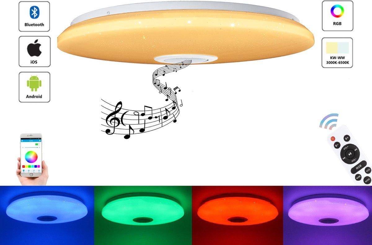 Varin® LED Plafondlamp met bluetooth speaker - 72W led lamp - Ø 50cm sparkling plafoniere - 5600 Lumen - RGB - nachtlamp en wekker - smart lamp - dimbare plafonnière - plafond lamp - kinderkamer lamp - slaapkamer verlichting - ledlamp - ceiling light
