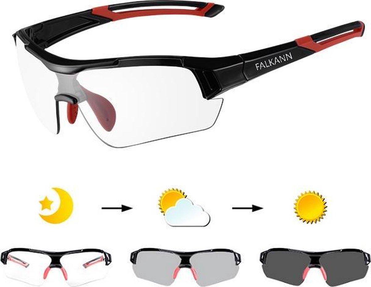 Falkann Elite Fietsbril / Sportbril Rood - Met Meekleurende Glazen