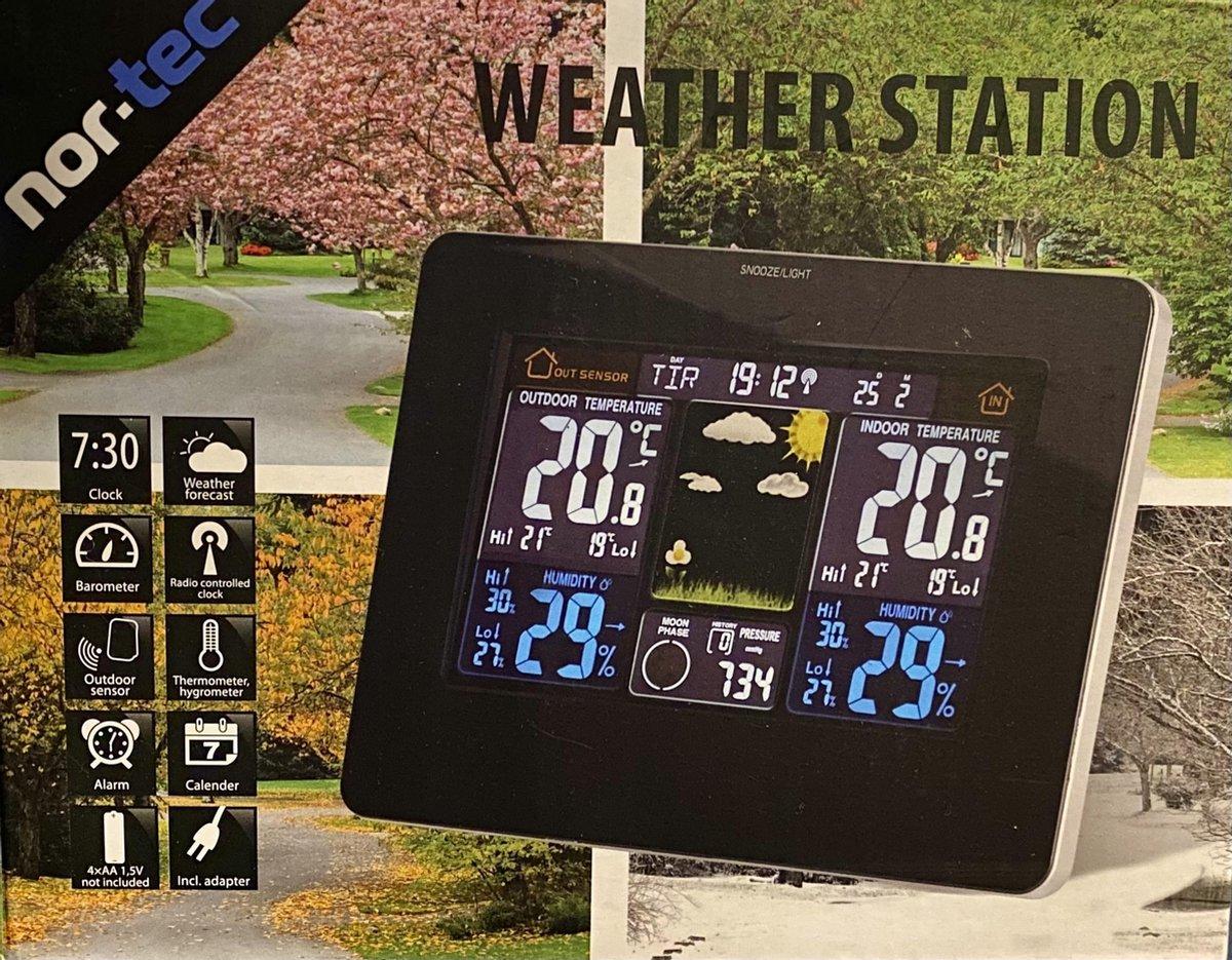 Draadloze weerstation   Indoor & Outdoor   met buitensensor   LED Kleurendisplay   Bereik tot 60 met