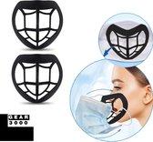 Innermask -  2 stuks - Bracket 3D voor mondkapje - Sillicone PE - vergemakkelijkt ademen - beschermt make up - herbruikbaar - zwart - GEAR3000®