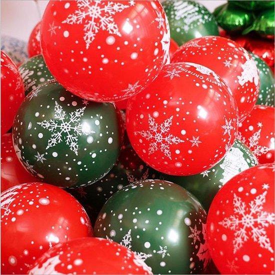 Prachtige Kerst ballonnen | Rood en Groen - Tekst Wit |  Sneeuw - Sneeuwvlok - Sneeuwpop - Rendier - Hert - Kerstklok | Merry Christmas - Decoratie | DH collection