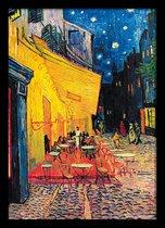 Vincent van Gogh Caféterras bij nacht Arles compleet met fotolijst Aanbieding 50x70cm.