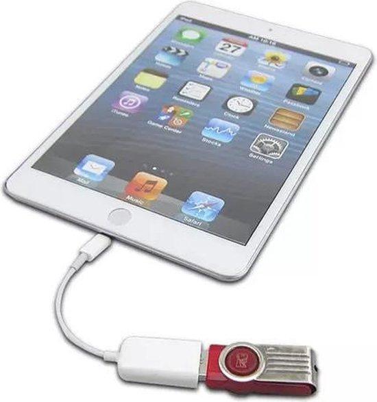 OTG-kabel- USB-female naar 8-pins male- geschikt voor iPad wit