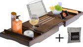 LuxerLiving badplank - Bamboe badplank - Hout - Tray badkamer -- Houder tablet/Ipad, boek, drankje, etc