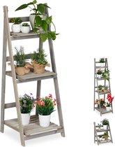 relaxdays plantenrek - hout - plantentrap - bloemenrek - bloementrap - etagère - grijs L