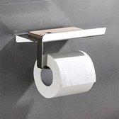 Toiletrolhouder met telefoonhouder – Incl. bijbehorende schroeven - Wc-rol houder - Mobiele Telefoon houder - Plankje - Roestvrij
