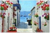 Dorp bij Zee - Landschap - Doorkijkje - Outdoor Schilderij op Canvas voor buiten
