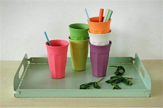 ZUPERZOZIAL - bekers, set/6, maat XL, CUPFUL OF COLOUR, gebaseerd op bamboe & maïs, 400 ml, rainbow, regenboog - Zuperzozial