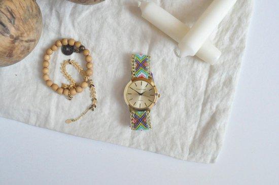 Goudkleurig Ibiza Horloge – Green | Gevlochten Bandje