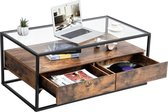 Salontafel met Strak Design - Houten Koffie Tafel met Gehard Glas en Twee Rustieke Lades - 106 cm Lang