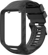 Carbon Look Bandje Zwart voor TomTom Smartwatch – Horlogeband voor Spark 2 3 Runner 2 3 – Black