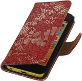 Apple iPhone 5C Lace Kant Bookstyle Wallet Hoesje Rood