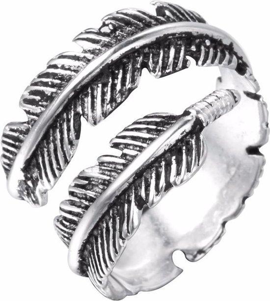 24/7 Jewelry Collection Veer - Blad Ring Verstelbaar - Verstelbare Ring - Zilverkleurig