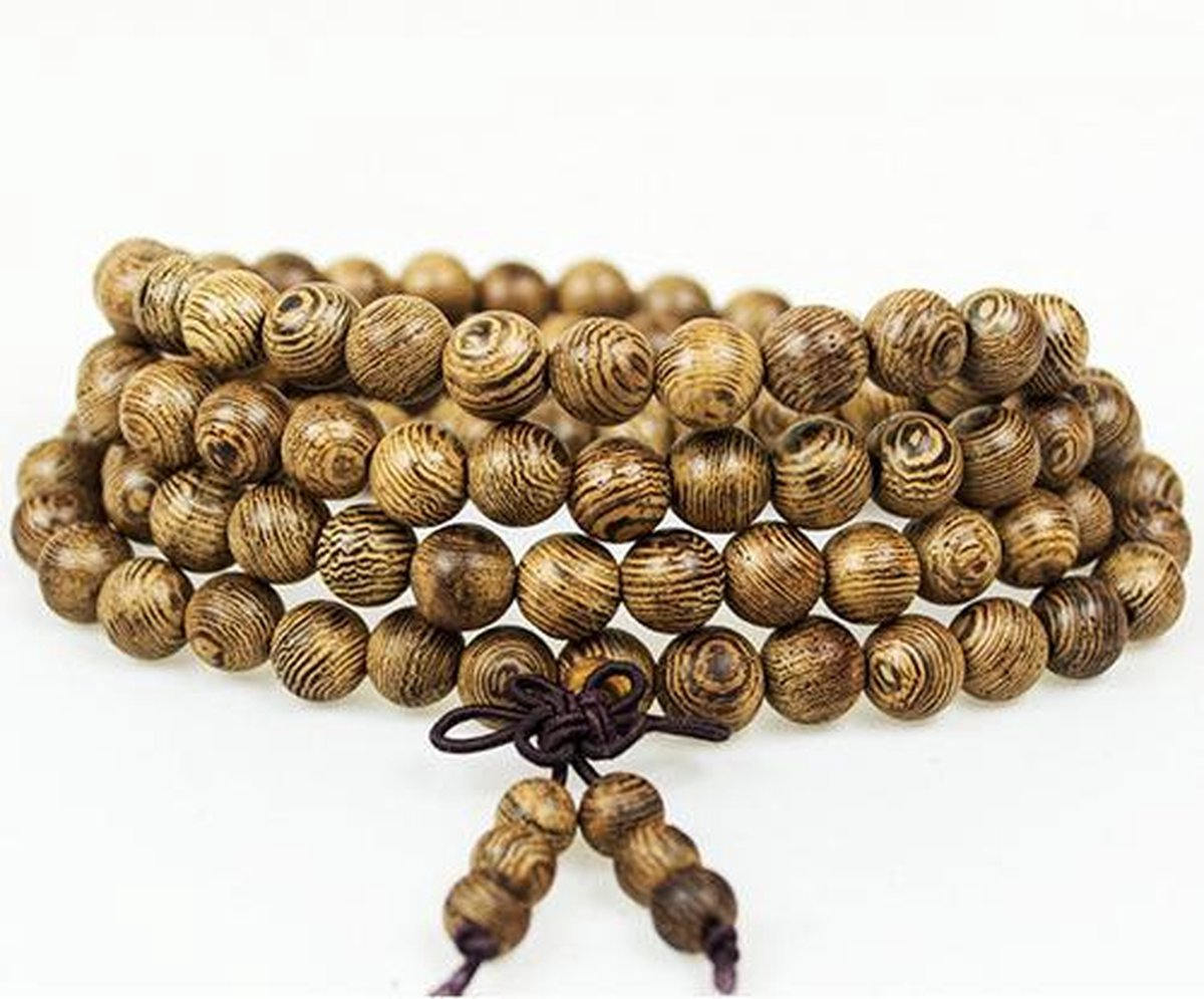 Buddha Armband - Sandelhout - Natural - Heren - 58 cm - Merkloos