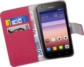 Roze Huawei Ascend Y550 Bookcase Wallet Cover Hoesje