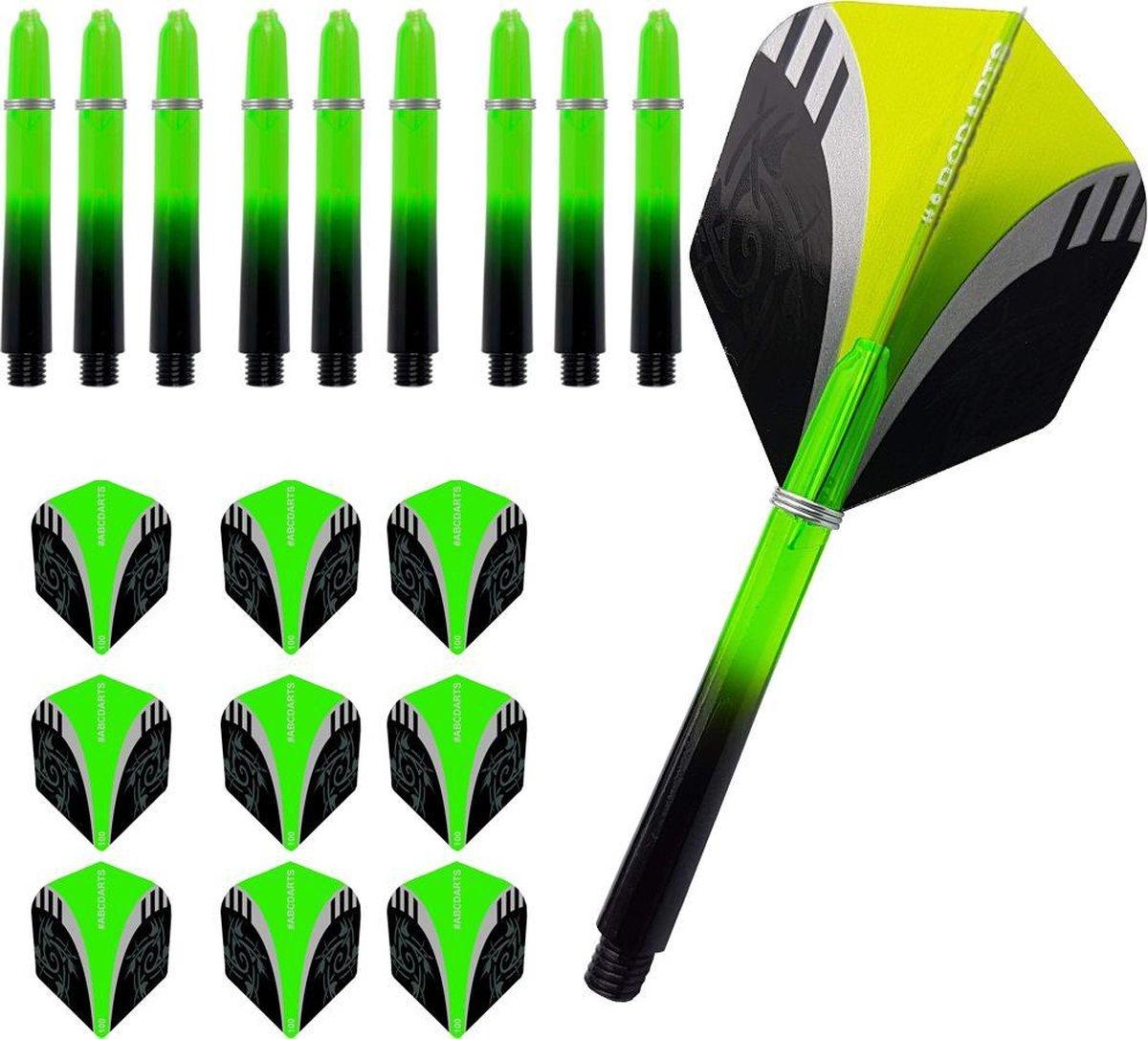 ABC Dart Flights en Darts Shafts Short - Tribal groen - 3 sets