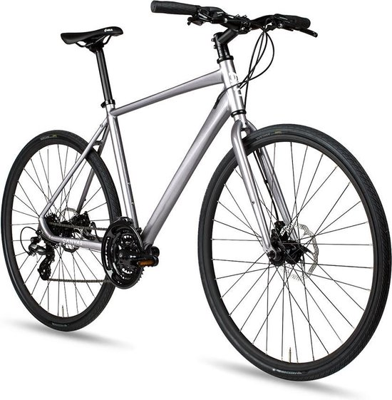 Hybride fiets 6KU zilver 53cm met schijfremmen