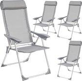 TecTake - 4 x campingstoel - tuinstoel - opvouwbaar - grijs - 402181