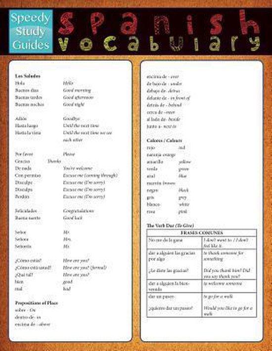 Spanish Vocabulary (Speedy Study Guide)