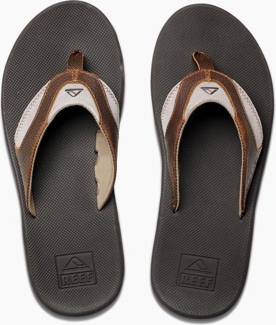 Reef Leather Fanning Heren Slippers - Bro/Brown 4 - Maat 45